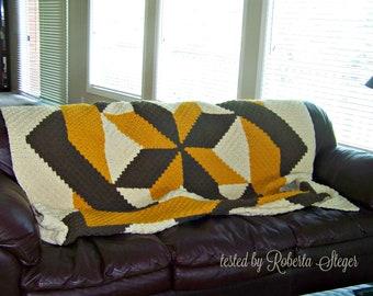 Blocked Star Quilt Blanket, C2C Crochet Pattern, Written Row Counts, C2C Graphs, Corner to Corner, Crochet Pattern, C2C Graph