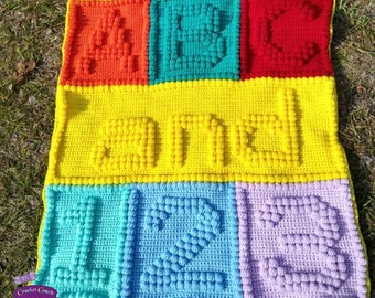 ABC and 123 Baby Afghan, Bobble Stitch Crochet Pattern, Written Row by Row, Color Counts, Instant Download, Graphgan Pattern, Graphgan