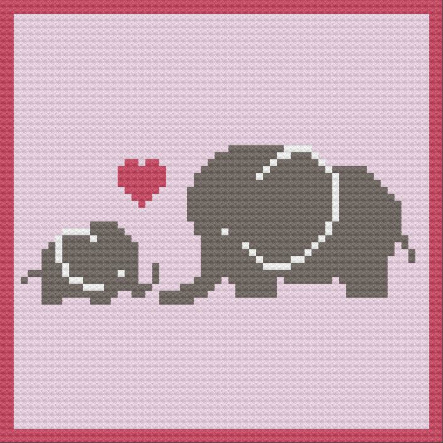 Elephant Mommy And Baby Afghan C2c Crochet Pattern