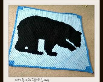 Black Bear Afghan, C2C Crochet Pattern, Written Row Counts, C2C Graphs, Corner to Corner Crochet Pattern, C2C Graph