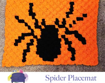 Spider Placemat, C2C Crochet Pattern, Written Row by Row, Color Counts, Instant Download, C2C Graph, C2C Pattern