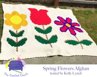 Spring Flowers Afghan, C2C Crochet Pattern, Written Row by Row, Color Counts, Instant Download, C2C Graph, C2C Pattern, Graphgan Pattern