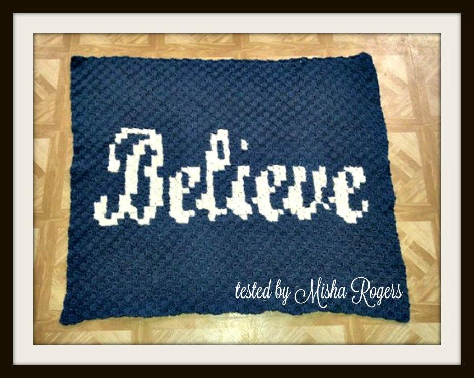 Believe Afghan C2c Crochet Pattern Written Row Counts C2c