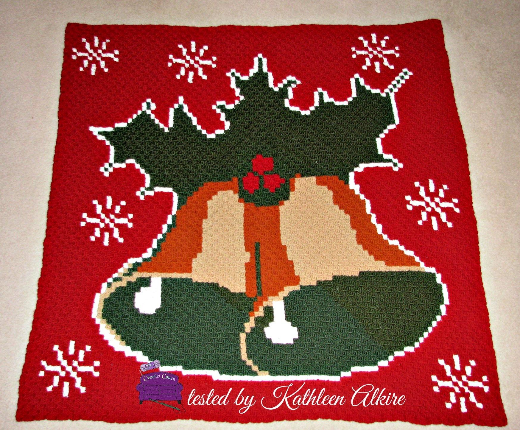 Christmas Bells Afghan, C2C Crochet Pattern, Written Row