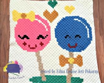 Lollipop Kids Baby Afghan, C2C Crochet Pattern, Written Row Counts, C2C Graphs, Corner to Corner, Crochet Pattern, C2C Graph