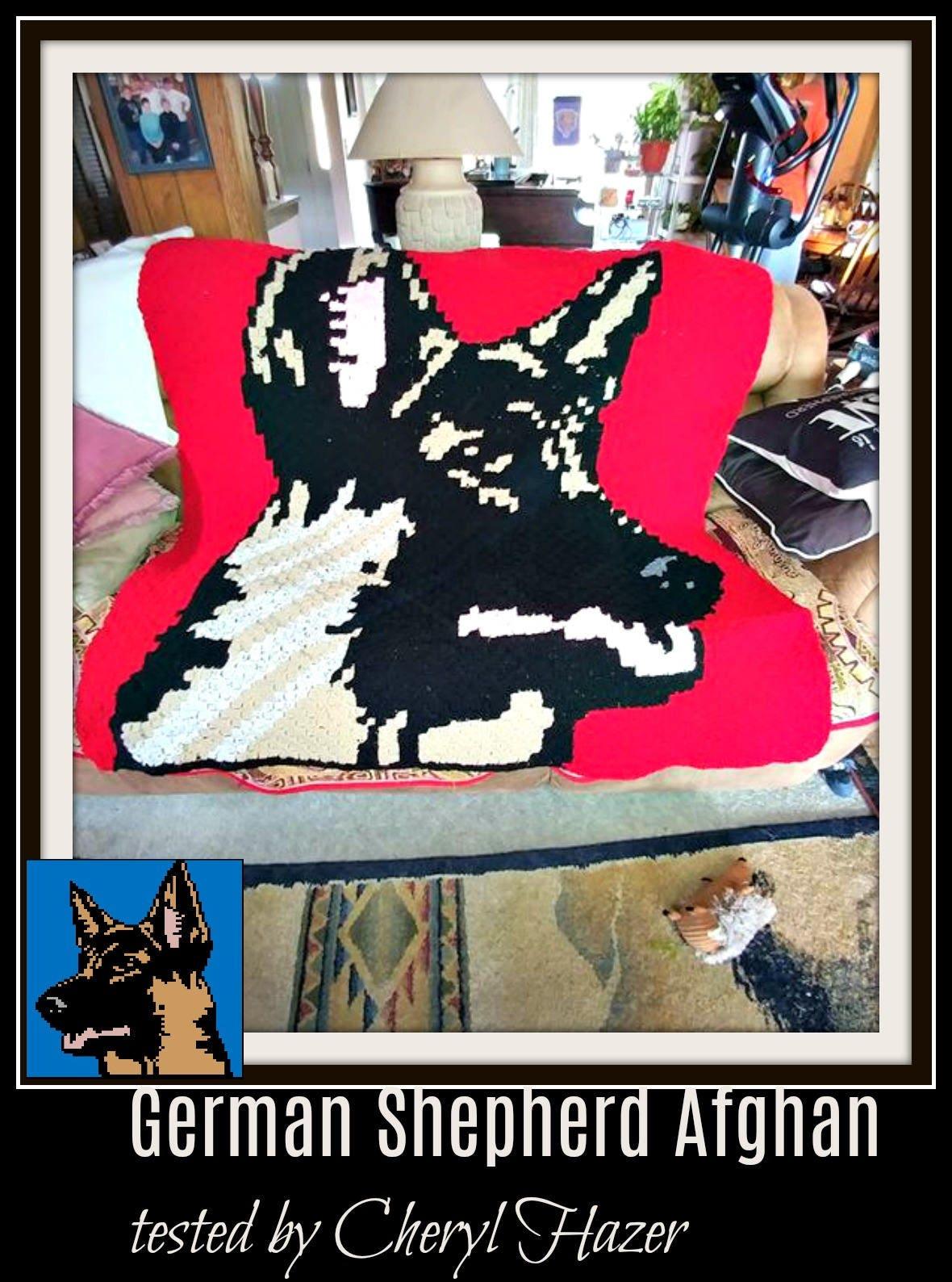 Afghan Shepherd: German Shepherd Afghan, C2C Graph, Crochet Pattern