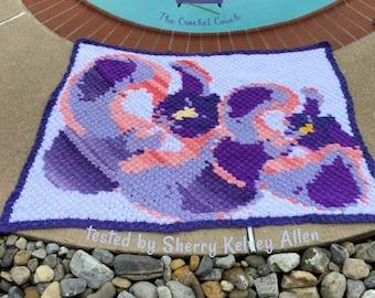 Orchid Afghan Blanket, C2C Crochet Pattern, Written Row Counts, C2C Graphs, Corner to Corner, Crochet Pattern, C2C Graph
