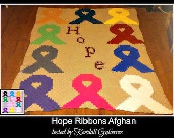 Hope Ribbons Afghan, C2C Crochet Pattern, Written Row Counts, C2C Graphs, Corner to Corner, Crochet Pattern, C2C Graph