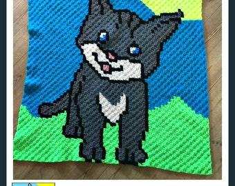 Kitten Baby Afghan, C2C Crochet Pattern, Written Row Counts, C2C Graphs, Corner to Corner, Crochet Pattern, C2C Graph