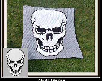 Skull Afghan, C2C Crochet Pattern, Written Row Counts, C2C Graphs, Corner to Corner, Crochet Pattern, C2C Graph