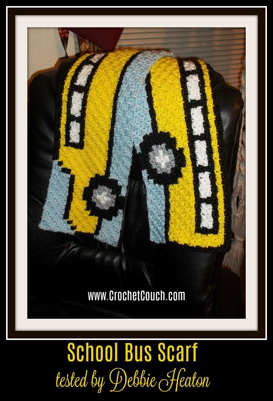 School Bus Scarf, C2C Crochet Pattern, Written Row Counts