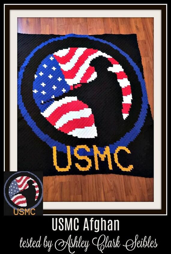 USMC Afghan, C2C Crochet Pattern, Written Row Counts, C2C Graphs, Corner to  Corner, Crochet Pattern, C2C Graph