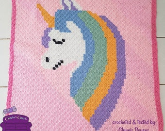Unicorn Head Blanket, C2C Crochet Pattern, Written Row Counts, C2C Graphs, Corner to Corner, Crochet Pattern, C2C Graph