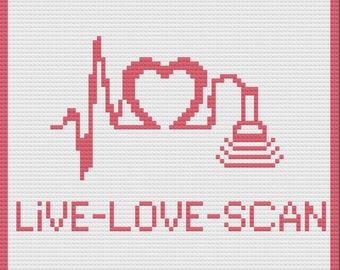 Live Love Scan Afghan, C2C Crochet Pattern, Written Row Counts, C2C Graphs, Corner to Corner Crochet Pattern, C2C Graph