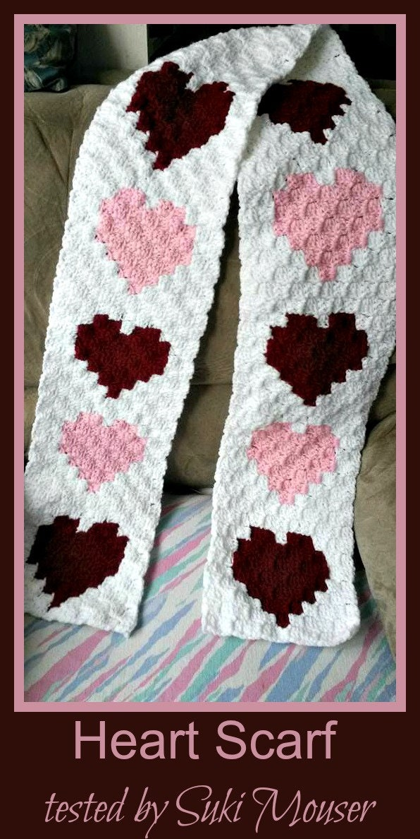 Hearts Scarf C2c Graph Crochet Pattern