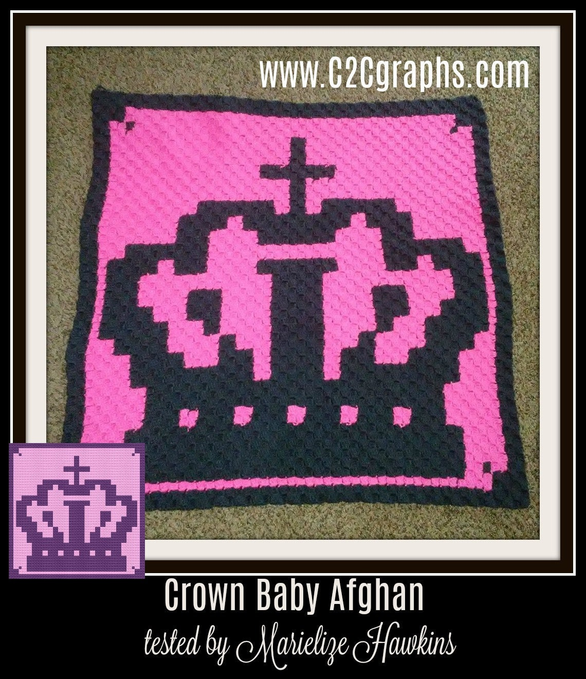 Crown Baby Afghan, C2C Crochet Pattern, Written Row