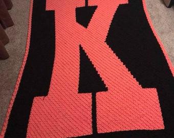 Letter K TWIN Afghan, C2C Crochet Pattern, Written Row Counts, C2C Graphs, Corner to Corner, Crochet Pattern, C2C Graph