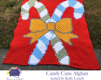 Candy Cane, Gold Bow Blanket, C2C Crochet Pattern, Written Row Counts, C2C Graphs, Corner to Corner, Crochet Pattern, C2C Graph