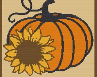 Pumpkin with Sunflower Afghan, sc Crochet Pattern, tss Crochet Pattern, Written Row by Row, Color Counts, Instant Download, sc Graph, tss