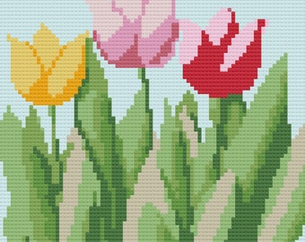Tulip Afghan, C2C Crochet Pattern, Written Row by Row, Color Counts, Instant Download, C2C Graph, C2C Pattern, Graphgan Pattern,
