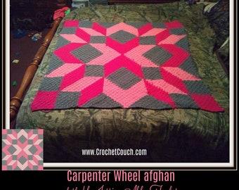 Carpenter Wheel Afghan Blanket 2, C2C Crochet Pattern, Written Row Counts, C2C Graphs, Corner to Corner, Crochet Pattern, C2C Graph