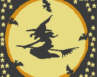Witch Flying Afghan, sc Crochet Pattern, tss Crochet Pattern, Written Row by Row, Color Counts, Instant Download, sc Graph, tss Graph