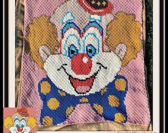 Clown Afghan Blanket, C2C Crochet Pattern, Written Row Counts, C2C Graphs, Corner to Corner, Crochet Pattern, C2C Graph