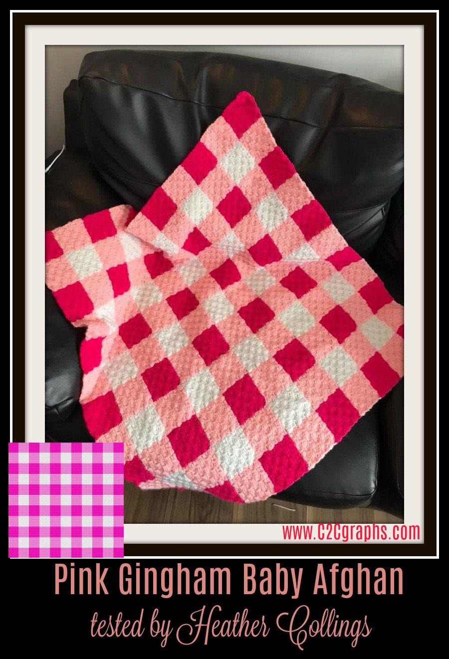 Pink Gingham Afghan, C2C Crochet Pattern, Written Row Counts