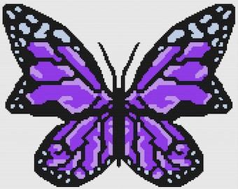 Butterfly in Purples Afghan, sc Crochet Pattern, tss Crochet Pattern, Written Row by Row, Color Counts, Instant Download, sc Graph tss Graph