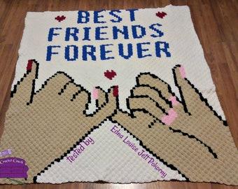 Best Friends Afghan, C2C Crochet Pattern, Written Row by Row, Color Counts, Instant Download, C2C Graph, C2C Pattern, Graphgan Pattern