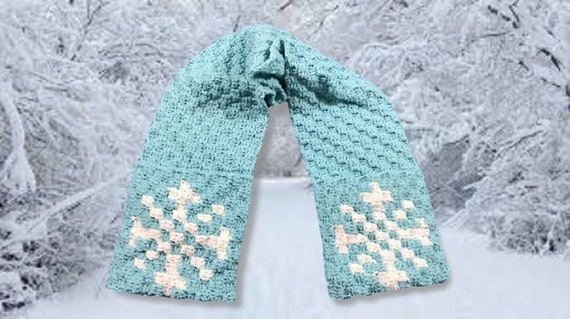Snowflake Scarf, C2C Crochet Pattern, Written Row Counts, C2C Graphs,  Corner to Corner, Crochet Pattern, C2C Graph