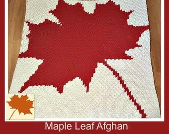 Maple Leaf Afghan, C2C Crochet Pattern, Written Row Counts, C2C Graphs, Corner to Corner Crochet Pattern, C2C Graph