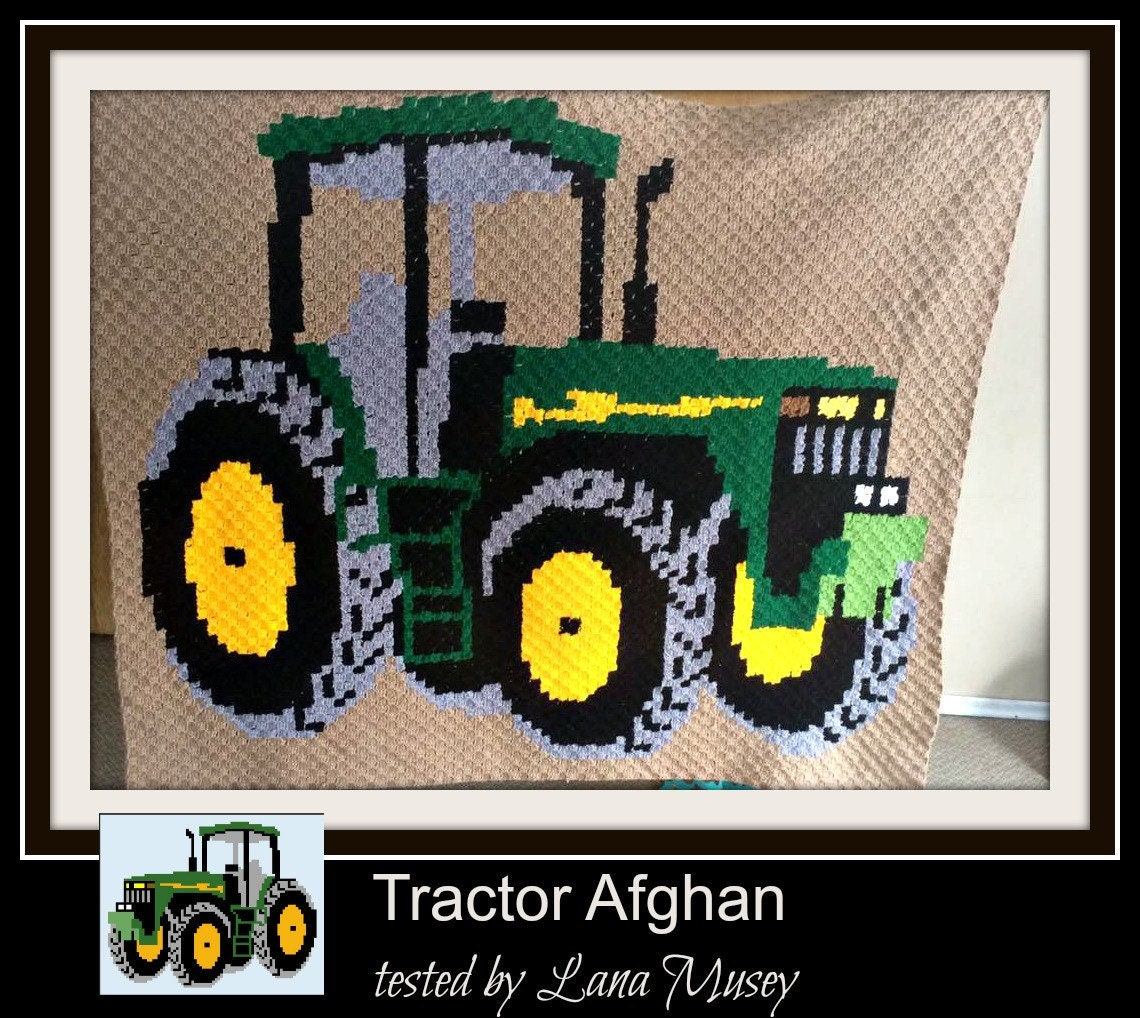 Tractor Afghan, C2C Crochet Pattern, Written Row Counts