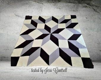 Carpenter Wheel Afghan Blanket Queen Size, C2C Crochet Pattern, Written Row Counts, C2C Graphs, Corner to Corner, Crochet Pattern, C2C Graph