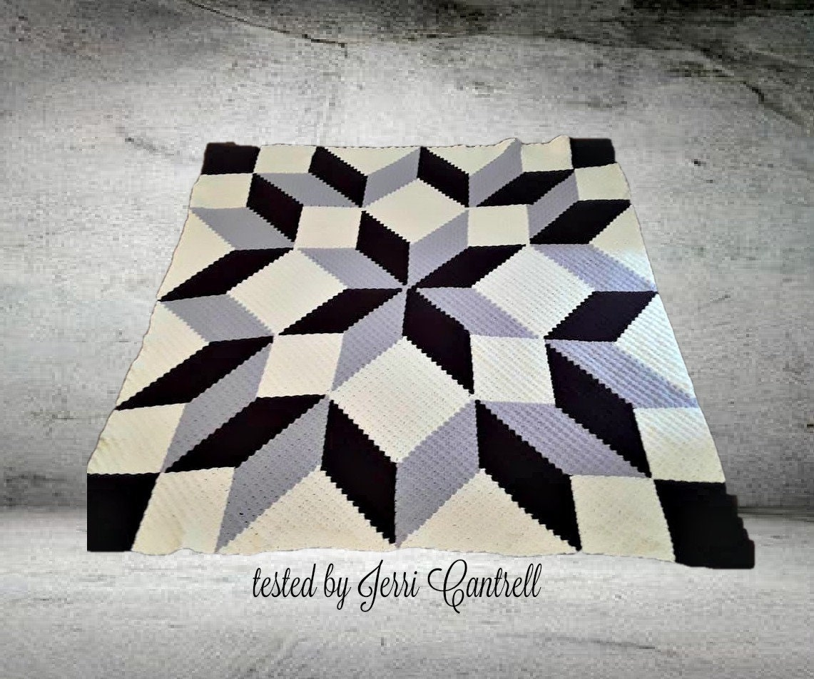 Carpenter Wheel Afghan Blanket Queen Size C2c Crochet Pattern