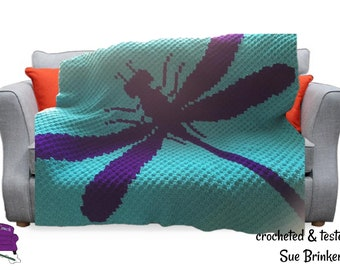 Dragonfly Silhouette Afghan, C2C Crochet Pattern, Written Row by Row, Color Counts, Instant Download, C2C Graph, C2C Pattern, Graphgan