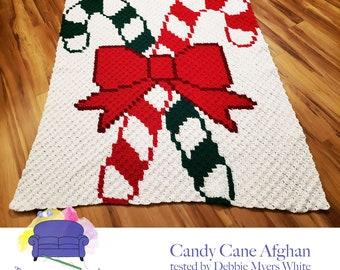 Candy Cane Blanket, C2C Crochet Pattern, Written Row Counts, C2C Graphs, Corner to Corner, Crochet Pattern, C2C Graph