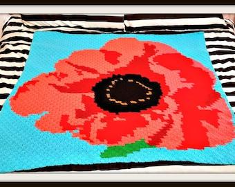 Poppy Afghan Crochet Pattern, C2C Crochet