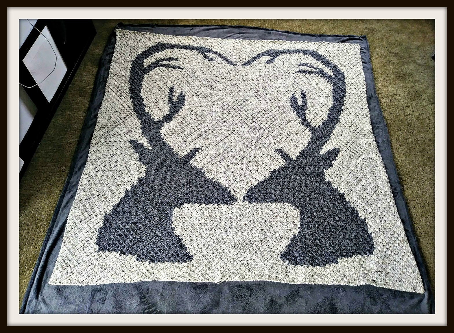 Deer Love Afghan, C2C Crochet Pattern, Written Row Counts