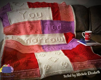 Love Forever Afghan, Bobble Stitch Crochet Pattern, Written Row by Row, Color Counts, Instant Download, Graphgan Pattern, Graphgan