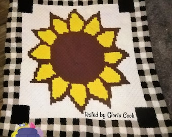 Sunflower Checkered Afghan, C2C Crochet Pattern, Written Row by Row, Color Counts, Instant Download, C2C Graph, C2C Pattern, C2C Crochet