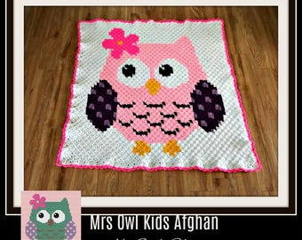 Mrs Owl Baby Afghan, C2C Graph, Written Word Chart