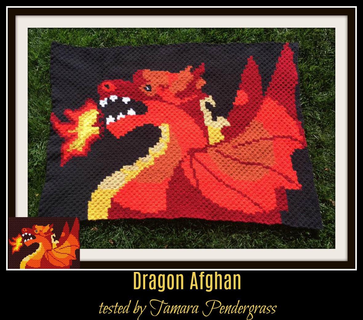 Dragon Afghan, C2C Crochet Pattern, Written Row Counts, C2C