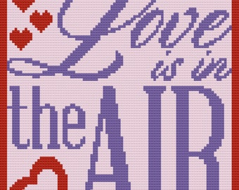 Love is in the Air Afghan, C2C Crochet Pattern, Written Row by Row, Color Counts, Instant Download, C2C Graph, C2C Pattern, C2C Crochet