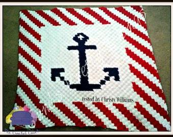 Anchor Stripe Small Afghan, C2C Crochet Pattern, Written Row Counts, C2C Graphs, Corner to Corner, Crochet Pattern, C2C Graph