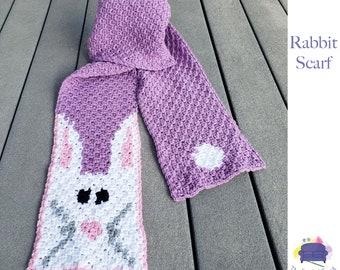 Rabbit Scarf, C2C Crochet Pattern, Written Row Counts, C2C Graphs, Corner to Corner Crochet Pattern, C2C Graph