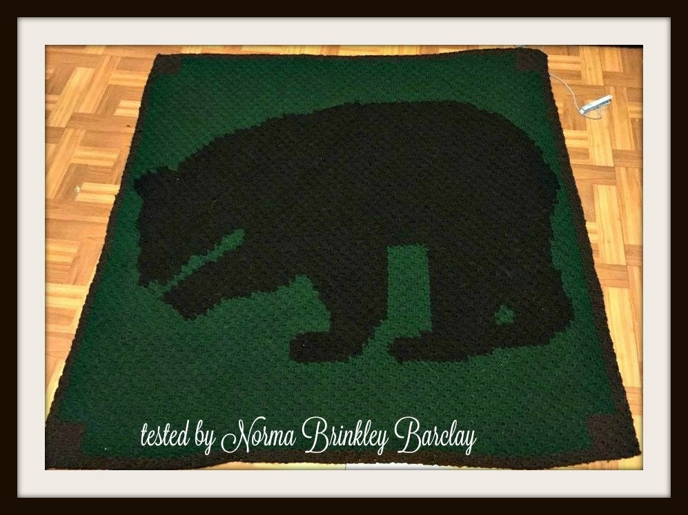 Brown Bear Afghan, C2C Crochet Pattern, Written Row