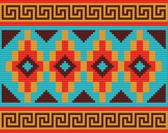 Sassy Southwest Afghan, C2C Crochet Pattern, Written Row by Row, Color Counts, Instant Download, C2C Graph, C2C Pattern, Graphgan