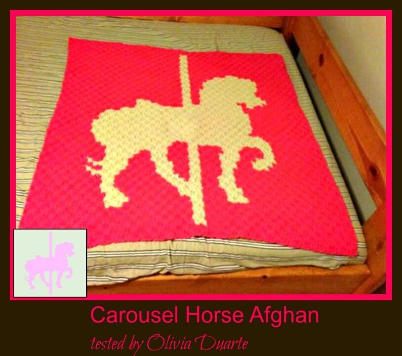 Carousel Horse Baby Blanket, C2C Crochet Pattern, Written Row