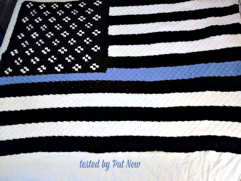 Blue Line Flag Afghan C2c Crochet Pattern Written Row Counts
